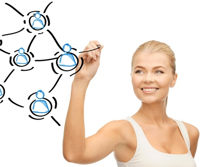 digi: business, technology and networking concept - businesswoman with contact icons on virtual screen