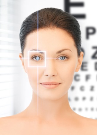 future technology, medicine and vision concept - woman and eye chart photo