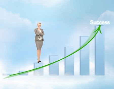 business, success and graphs concept - businesswoman with big 3d chart photo