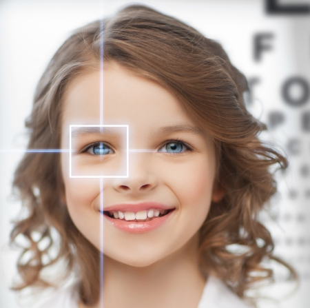 future technology, medicine and vision concept - cute girl with eye chart photo