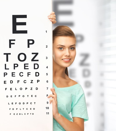 corrective: medicine and vision concept - woman in eyeglasses with eye chart Stock Photo