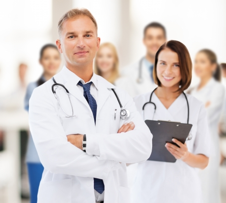 healthcare and medical concept - two doctors in hospital Stok Fotoğraf