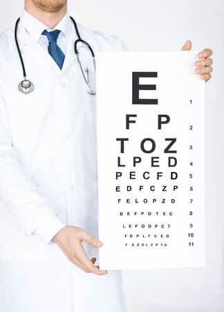 testing vision: healthcare, medicine and vision concept - male ophthalmologist with eye chart
