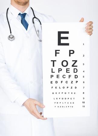 oculista: la salud, la medicina y el concepto de la visión - Oftalmólogo de sexo masculino con la carta de ojo