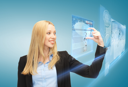 digi: business, technology, internet and news concept - woman with virtual screen reading news Stock Photo