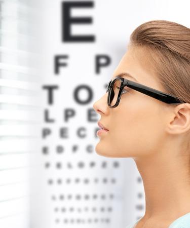 examen de la vista: la medicina y el concepto de la visión - Mujer en lentes con gráfica optométrica