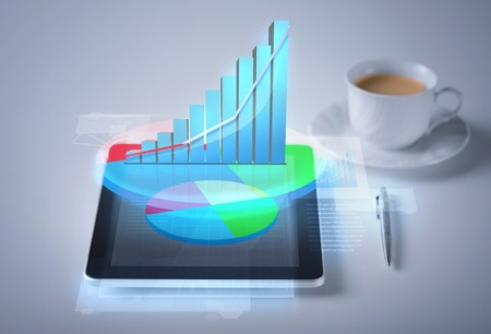 digi: business and technology concept - tablet pc with virtual graph or chart