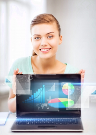 market analysis: business concept - businesswoman showing laptop with graph