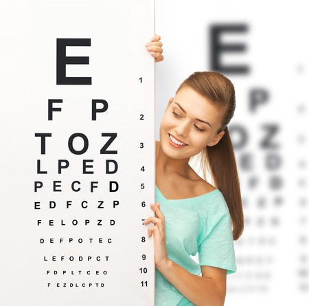 optometrist: medicine and vision concept - woman in eyeglasses with eye chart Stock Photo