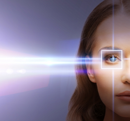 health, vision, sight - woman eye with laser correction frame Stock Photo
