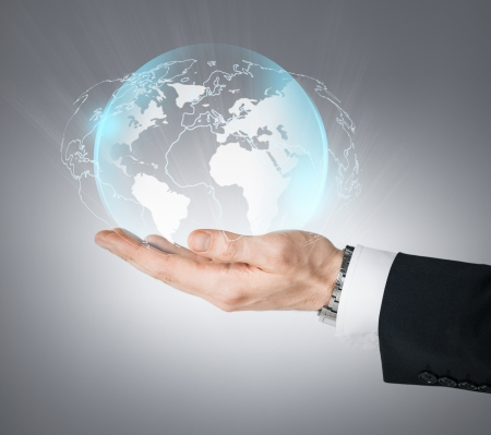 technology, news and environment concept - man hand holding virtual sphere globe