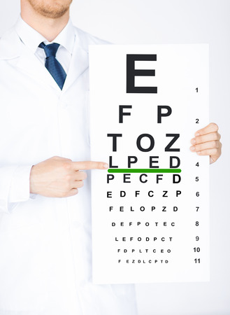 clinician: healthcare, medicine and vision concept - male ophthalmologist with eye chart