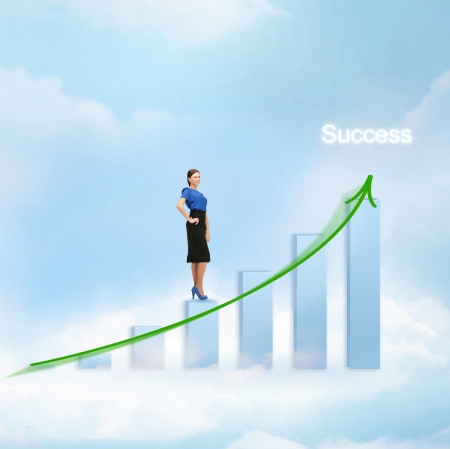 increment: business concept - businesswoman with big 3d chart in the sky