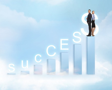 winning stock: business and office - businessman and businesswoman on the top of chart with success word