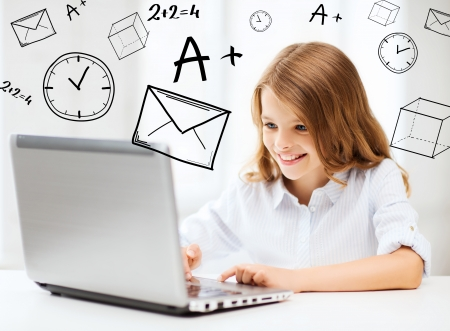 scholar: education, school, technology and internet concept - little student girl with laptop pc at school
