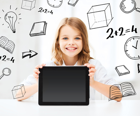 blank tablet: education, school, technology and internet concept - little student girl with tablet pc at school