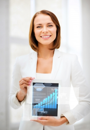 business and technology concept - businesswoman showing tablet pc with graph