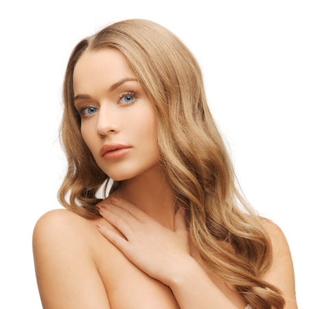 long blonde hair: health and beauty concept - face of beautiful woman with long hair
