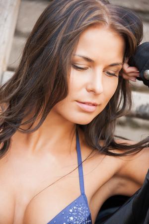 nice breast: body and fitness concept - beautiful sporty woman in bikini