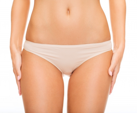 health and beauty - woman in cotton underwear showing slimming concept Stock Photo - 22131595