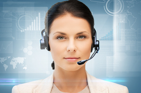 business, office, technology, future concept - friendly female helpline operator Imagens