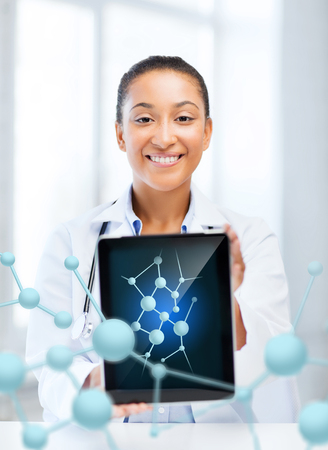 new medicine: healthcare, hospital, research, science and medical concept - african female doctor with tablet pc and molecules Stock Photo