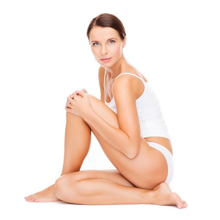 women in underwear: health and beauty concept - beautiful woman in white cotton underwear