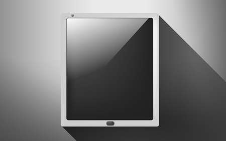 business and technology concept - tablet pc with blank black screen Stock Photo - 22521316