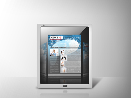 business, technology, internet and news concept - illustration of tablet pc with news app illustration