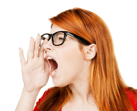 business concept - bright picture of screaming woman photo