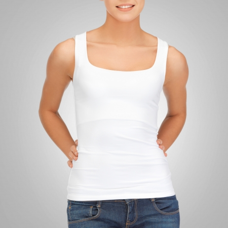 woman on top: t-shirt design concept - woman in blank white tank top