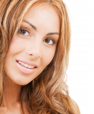 alluring: health and beauty concept - face of happy woman with long hair