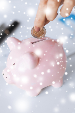 picture of woman hand putting coin into small piggy bank photo