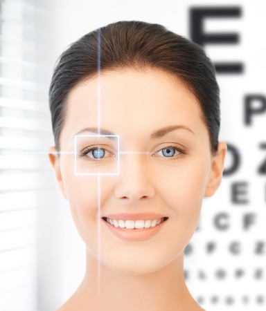 future technology, medicine and vision concept - woman and eye chart Stok Fotoğraf