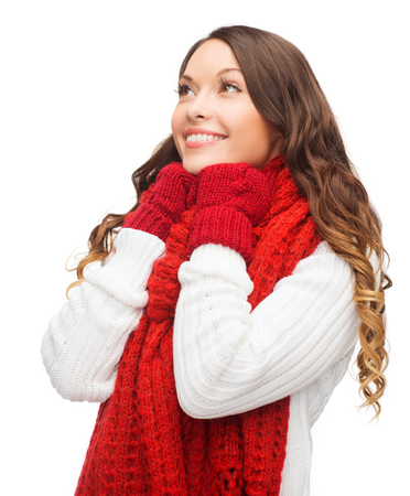 sweater girl: winter, people, happiness concept - happy woman in sweater, scarf and mittens