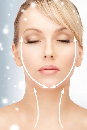 健康、美容、医療コンセプト - 美人美容整形手術の準備ができて 写真素材