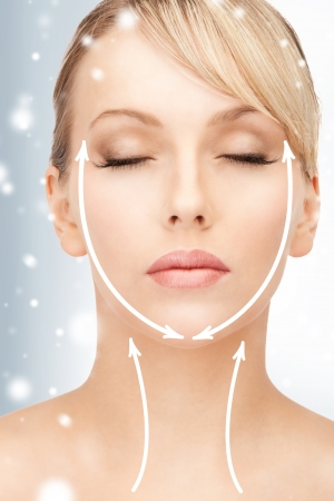 health, beauty, medicine concept - beautiful woman ready for cosmetic surgery