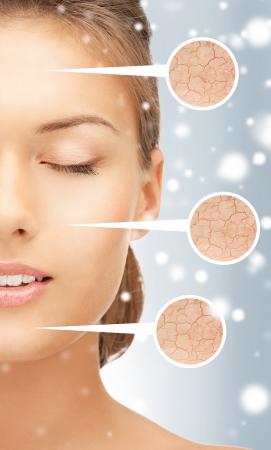健康と美容のコンセプト - 美しい女性の顔