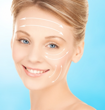 health, beauty, medicine concept - beautiful woman ready for cosmetic surgery photo