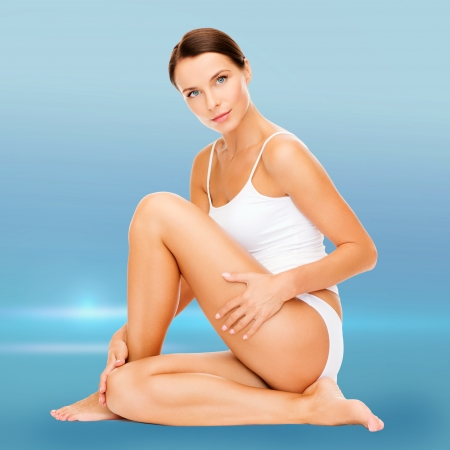 health and beauty concept - beautiful woman in white cotton underwear photo