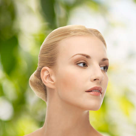 eco sensitive: health and beauty, eco, bio, nature concept - face of beautiful woman with blonde hair Stock Photo