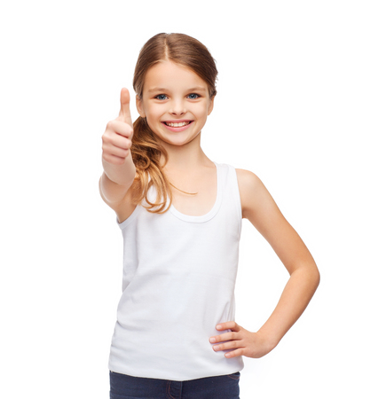shirt design concept - smiling teenage girl in blank white shirt showing thumbs up
