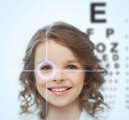 eyesight: health, vision, medicine, laser correction, happy people concept - smiling pre-teen girl with optometric table or eyesight testing board