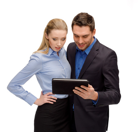 business, internet, technology, computers, communication concept - businesswoman and businessman with tablet pc photo