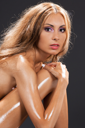 health and beauty concept - beautiful naked woman photo