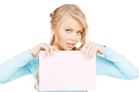 advertisement, business, promotion concept - woman with blank board photo