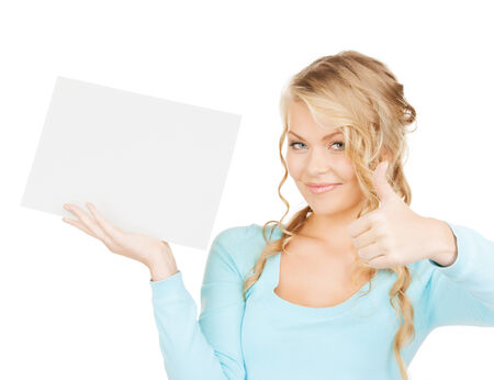 advertisement, business, promotion concept - woman with blank board showing thumbs up gestuge photo
