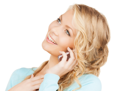 communication and technology concept - businesswoman with cell phone making a call photo