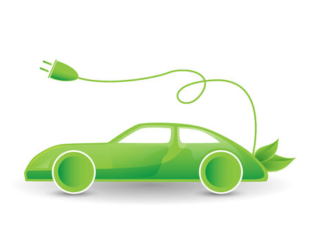 eco car: eco, bio, hybrid energy concept - green electric car illustration