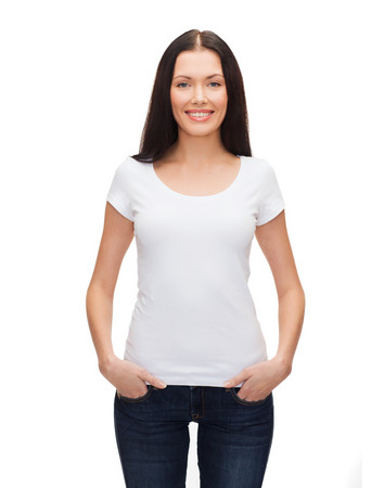 t-shirt design concept - smiling woman in blank white t-shirt photo